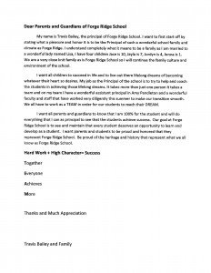 Bailey Parent Welcome Letter