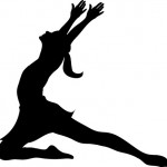 Clip Art Illustration of a Silhouette of a Ballet Dancer Lunging